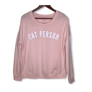 Pink Cat Person Sweatshirt.